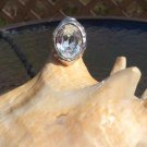 Vintage Large Oval Cubic Zirconia Sterling Silver Ring - Size 6!
