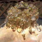 Retro Clear & Shades of Greens Lucite Cha Cha Expandable Bracelet - Lots of movement!