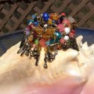 Retro Wrap Around Multi Strand, Multi Color Beaded Bracelet with Charms - Lots of movement!