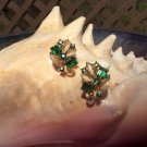 Vintage LISNER Green Gold Leaf Rhinestone Clip On Earrings!