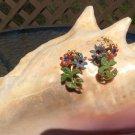 Vintage Daisy Rhinestone Multi Color Flower Clip On Earrings!