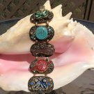 Retro Chunky Multi Color Hinged Bangle Bracelet with Rhinestones & Glittery Accents!