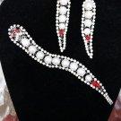 Vintage Rhinestone Snake Brooch Pin & Matching Pierced Earring Set - Dazzling!