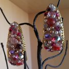 Pink Encrusted Large Hoop Pierced Earrings - LOTS of DAZZLE & GLITZ!