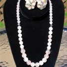 Rose Quartz Cluster Earrings and Graduated Smooth Polished Bead Necklace Set!