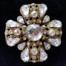 Maltese Cross Design Gold Rhinestone Brooch Pin!