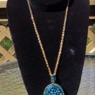 "Blue Aurora Borealis 30"" Pendant Necklace!"