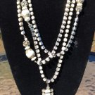 "White Bead and Rhinestone 60"" Necklace - 1920s Gatsby Flapper Style!"