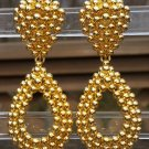 FO Inc. Bold Gold Beaded Finish Teardrop Dangle Clip On Earrings!