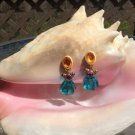 Aqua Lucite Faceted Teardrop Dangle with Multi Color Accent Clip On Earrings!