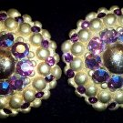 Large Gold Button Style with Purple Aurora Borealis & Rhinestone Clip On Earrings!