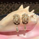 Pearl Cluster with Rhinestone Rings and Teardrop Dangle Clip On Earrings!