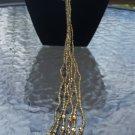 "Vintage Art Deco Long Gold Triple Strand Bead and Tassel 46"" Belt/Necklace!"