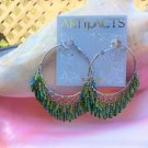 Vintage Green Iridescent Bugle Bead Hoop Pierced Earrings - FLAPPER STYLE!