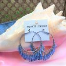 Vintage Blue Iridescent Bugle Bead Hoop Pierced Earrings - FLAPPER STYLE!