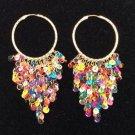 Multi Color Dangling Sequin Hoop Pierced Earrings - SO COLORFUL!