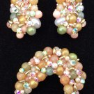 Vintage Handmade Rhinestone Pearl & Bead Embellished Clip On Earrings & Pin Set!