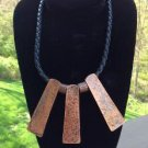 Vintage Tribal BOHO Style Copper & Leather Collar Necklace - finished with tiny copper heart!