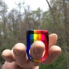 Vintage Mid Century Lucite Rainbow Ring - 1960's - Size 8 - COOL!