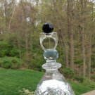 Vintage Mid Century Faceted Black Ball Set in Clear Lucite Ring - 1960's - Size 8 - COOL!