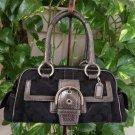 "Coach ""Exotics Collection"" Metallic Black Signature Snakeskin Satchel #G05Q-8K40- Authentic!"
