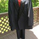 DiMitri Peak Lapel Black Double Breasted Tuxedo - Size 46R - Bonus Vest - LIKE NEW!
