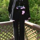 U.S. Polo Assn. Womens Plus Black Velour Track Jogging Suit - Jacket & Lace Front Sweatpants!