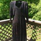 90s Ronni Nicole II Plus Black Sparkle Glitter Dress with Bolero Jacket by Ouida - Size 22!
