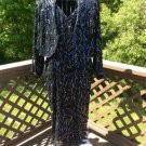 90s Plus Size Black Silk Covered with Iridescent Sequin Dress Gown with Bolero Jacket - Size 2X!