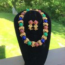 Vintage BOLD GOLD/MULTI COLOR Jewelry Set - Necklace and CLIP ON Earrings!