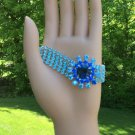 Shades of Blue Flower Center Rhinestone Bracelet - STRIKING!
