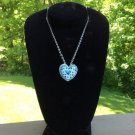 Walt Disney Heart Shaped Blue Rhinestone Pendant / Pin Necklace with Mickey Ears center!