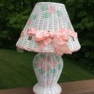 Charming Wicker Hand-Painted Table Lamp with Flowers and Bows!