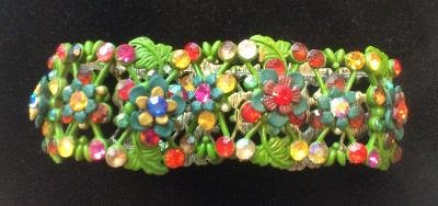 Green Multi Color Rhinestone Stretch Bracelet - BEAUTIFUL!