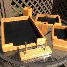 Contemporary Style Solid Oak 7 Piece Desk Organizer Accessory Set!