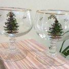 SPODE Christmas Tree Ball Stem Footed Pedestal Ice Cream, Pudding, Fruit Bowl Glasses - Set of 2!