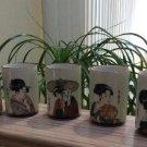 Kafuh Japanese Geisha Porcelain Tea Cups Glasses Tumblers - Set of 5!