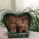Vintage Glazed Pottery LOVE Figural Elephant Majolica Planter Vase - Marked PS700E!