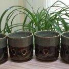 Vintage Somayaki Hashiri-uma Double Wall Pierced Heart Crackle Ceramic 4 Cups - Gold Horse Japan!