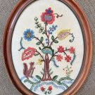 """Vintage Hand Made Crewelwork Embroidered Flower Tree Squirrel 14¾"""" Oval Finished Framed-from 1963!"""