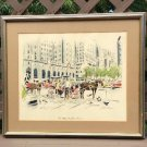 'The Plaza' by John Haymson (Austrian 1902-1980) Lithograph Watercolor - Matted & Framed, c1960!