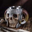 Stainless Steel Double Handle Horn Skull Beer Cup,Viking Warrior Mug Tankard,Medieval Skull!