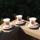 Yamasen 24CT Gold Collection Fine Porcelain Tea Cups & Saucers - Set of 5 - Made in Japan