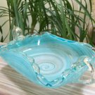 Turquoise Swirl Murano Art Glass Two-Handled Nappy with Rolled sides and pontil mark!