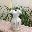 Vintage Fenton Hand Painted Silver Crest Ruffled Milk Glass Vase!