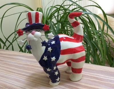 2001 Lacombe Patriotic Cat Figurine American Flag, Stars & Stripes, 4th of July!