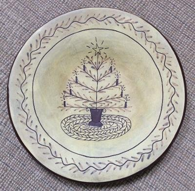 "Red Oaks Pottery Real American Redware Christmas Tree Deep Plate 10¼"" - signed by Pam Armbrust!"