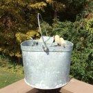 Vintage De LUXE Heavy Galvanized Mop Bucket Ringer with Wood Rollers & Bail!
