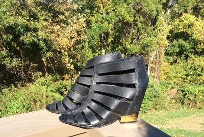 BCBGeneration Charlie Black Silky Leather Wedges - Size 9M / 39 - Gold Heel Accents & Back Zipper!