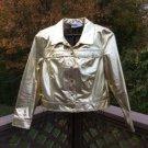 Newport News Jeanology Metallic Gold 100% Leather Jacket - Size 18 - GORGEOUS!